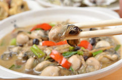 Oyster in black bean sauce Stock Image