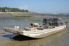 Oyster barge in the Bassin d`Arcachon, France royalty free stock image
