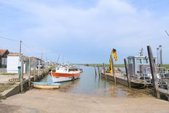 Oyster cabine and boats from fisherman stock image