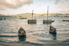 Oyster cages await fisherman to deploy them on a lake in vietnam. Beautiful Royalty free stock photo. oyster cages await fisherman to deploy them on a lake in Royalty Free Stock Images