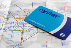 Oyster card and tube map Stock Photography