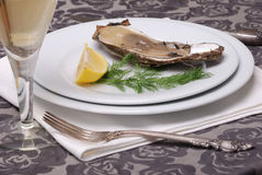 Oyster with champagne stock photography