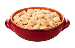 Oyster Crackers in a red bowl Stock Images