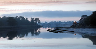 Oyster farm in Brittany coast Royalty Free Stock Images