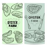 Oyster farm cards. Design template with oysters and cutlery. Engraved style. Vector illustration Royalty Free Stock Image