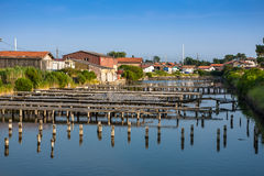 Oyster farming harbour near Arcachon. France Stock Image