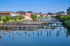Oyster farming harbour near Arcachon Royalty Free Stock Photo