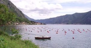 Oyster farming in Montenegro. Oyster and mussel farming with traps and buoys in Boka-Kotor bay, Montenegro, the Adriatic coast in the springtime. Mountains in stock footage