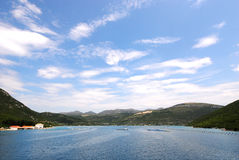 Oyster farms in a bay of the Mediterranean Sea Royalty Free Stock Photography