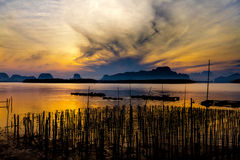 The Oyster Farms at Fisherman village at Samchong-tai, Phang Nga. Thailand Stock Photos