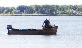 Fishing Boat with fishermen Royalty Free Stock Photo