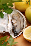 Oyster, lemon and parsley Royalty Free Stock Photos