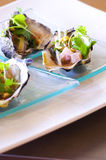 Oyster luxury on dish. Oyster appetizer luxury on dish Stock Photos