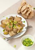 Oyster mushroom wiht leek on the plate Royalty Free Stock Photos