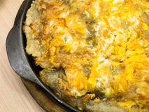 Oyster omelet fire with egg Stock Photo