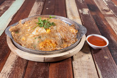 Oyster omelet fire with egg,Thai food Royalty Free Stock Images