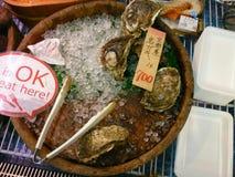 Oyster. Osaka, Japan - June 1, 2015: Fresh oyster for sale in Kuromon Ichiba market Royalty Free Stock Photography
