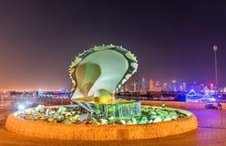 Oyster and Pearl Fountain on Corniche Seaside Promenade in Doha, Qatar Stock Image