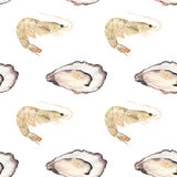 Oyster and prawn - seafood and marine cuisine Royalty Free Stock Image