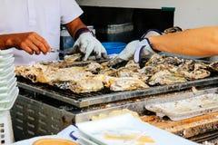 Oyster Roast. How To Oyster Roast  , Miyajima ,Hitoshima , Japan Royalty Free Stock Image