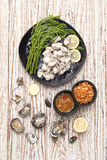 Oyster seafood lemon fresh asia  fried shallots sauce Stock Images