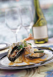Oyster seafood and wine. Image of oyster seafood and wine Stock Photography