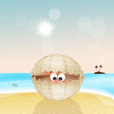 Oyster in the shell on the beach Royalty Free Stock Image
