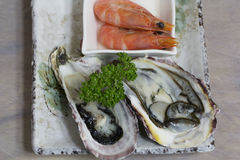 Oyster and shrimp. Korean appetizer Royalty Free Stock Photos