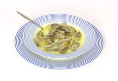 Oyster stew in blue bowl Royalty Free Stock Image