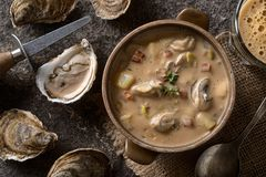 Oyster Stout Stew. Homemade oyster stew with stout beer, bacon, and thyme Stock Photo