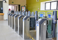Oyster terminals in London. LONDON, ENGLAND - MAY 13, 2017 : Oyster terminals in London. Oyster is a plastic smartcard which can hold pay as you go credit Royalty Free Stock Image