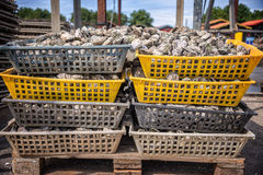 Oysters baskets in the port of La Teste, Bassin d`Arcachon, France. Oysters baskets in the port of La Teste, Bassin d`Arcachon in, France Royalty Free Stock Photo