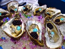 Oysters with caviar party hors d'oeuvres. Oysters topped with caviar, served atop a bed of crushed ice sprinkled with flowers, as party hors d'oeuvres Royalty Free Stock Images