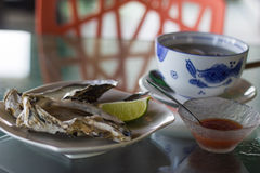 Oysters and Condiments for Lunch Royalty Free Stock Images