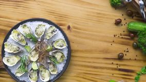 Oysters cooked with cheese and herbs on wooden copy space. Seafood composition. Italian cuisine with seafood. Food stock video