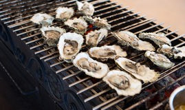 Oysters are cooked on the grill Royalty Free Stock Photos