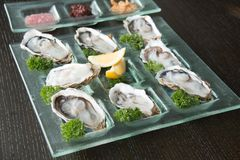Oysters on glass plate with spicy sauce. Opened Oysters on glass plate with spicy sauce Royalty Free Stock Images