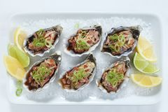 Oysters Kilpatrick top view Stock Photo