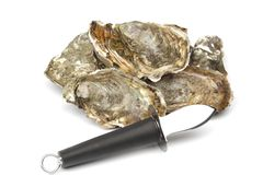 Oysters and knife on white Stock Photos