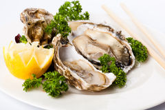 Oysters with lemon. And chopsticks Royalty Free Stock Photos