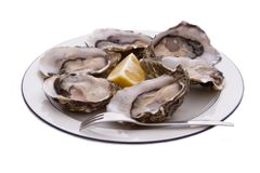 Oysters, Lemon and Fork Royalty Free Stock Photography