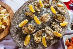 Oysters with lemon and ice on the plate. On the dinner table Royalty Free Stock Photography