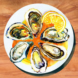 Oysters with lemon on white plate and wood table Stock Images