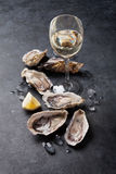 Oysters with lemon and white wine. Opened oysters, ice and lemon with white wine over stone table. Half dozen stock photo