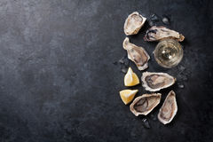 Oysters with lemon and white wine. Opened oysters, ice and lemon with white wine over stone table. Half dozen. Top view with copy space Royalty Free Stock Image