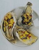 Oysters with peaches royalty free stock photography