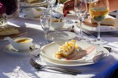 Oysters plate. Plate of oysters with lemon and special sauce Royalty Free Stock Image