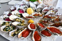 Oysters platter. Fresh oysters in many styles Stock Images