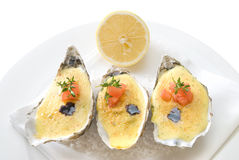 Oysters with sauce Royalty Free Stock Photo