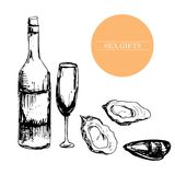 Oysters, seafood, alcohol glasses, bottle, menu, template vector illustration